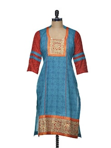 Printed Blue Kurta With Zari Work - Varan