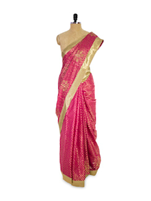 Dotted Pink And Gold Saree - Pothys