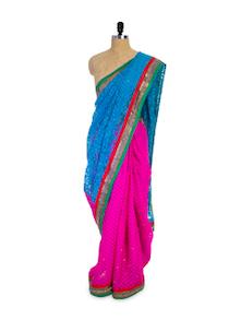 Light Blue And Pink Saree - Pothys