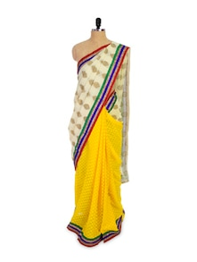 Yellow Chiffon Saree With Off-White Pallu - Pothys
