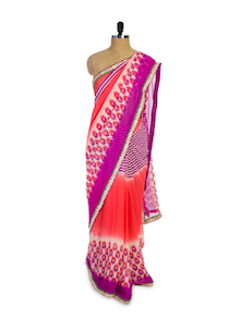 Orange And Purple Chiffon Saree - Pothys