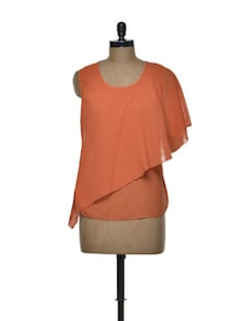 Layered Orange Chiffon Top - Tapyti