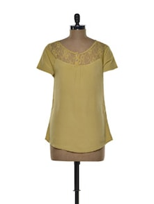 Sleeved Mustard Top With Lace Yoke - Tapyti
