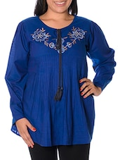 Blue Embroidered Top - URBAN RELIGION