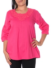 Pink Floral Neck Lace Top - URBAN RELIGION