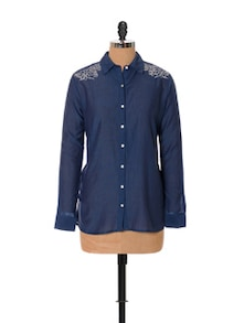 Floral White-on-blue Embroidery Shirt - URBAN RELIGION