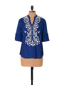 Belle Blue Embroidered Top - URBAN RELIGION