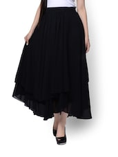 Black Asymmetrical Long Skirt - By