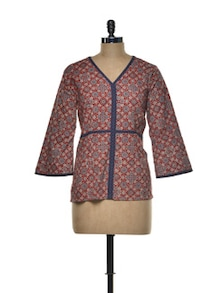 Geo-floral Maroon Cotton Top - Indie Cotton Route