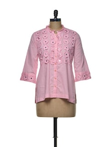 Cute Pink Ruffled Shirt - Indie Cotton Route