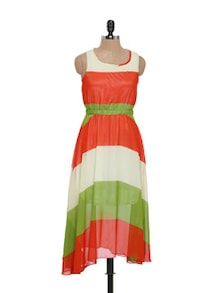 Orange And Green Asymmetrical Dress - EVogue.Me