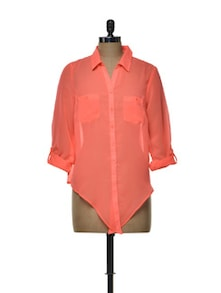 Lace Detailed Sheer Coral Shirt - House Of Tantrums