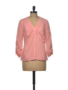 Cute Lace Front Cotton Blush Top - Mishka