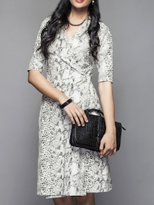 Monochrome Snake-print Wrap Dress - Kaaryah