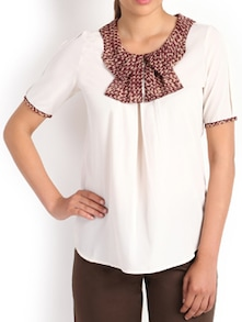 White And Brown Sassy Top - Kaaryah