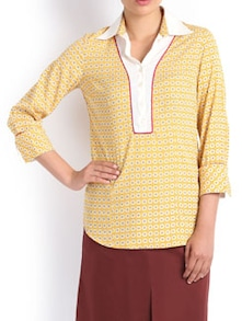 Print Play Formal Yellow Shirt - Kaaryah