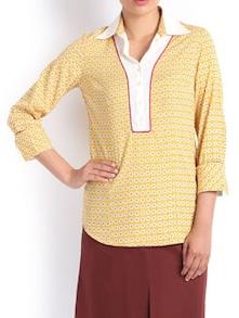 Print Play Formal Yellow Shirt - Kaaryah