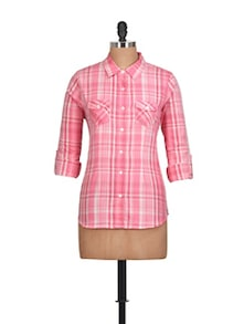 Cotton Pink Checked Shirt - Overdrive