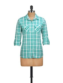 Aqua Green Checked Shirt - Overdrive