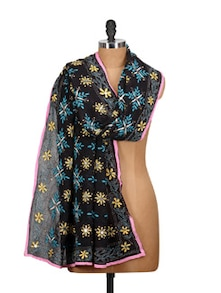 Black Embroidered Phulkari Dupatta - Vayana