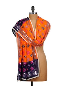 Orange And Blue Phulkari Dupatta With Mirror Work - Vayana