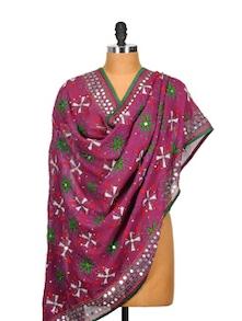 Purple Phulkari Dupatta With Mirror Work - Vayana