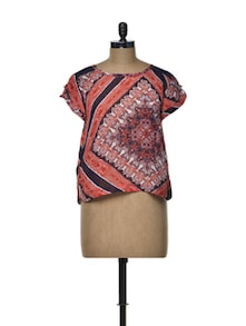 Printed Red Sheer Top - Besiva