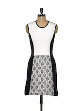 Stretchable Lace Dress In Classic Monochrome - Besiva