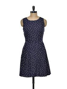 Polka Dotted Skater Dress - Besiva