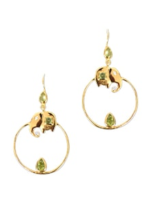 Gold And Green Stone Elephant Earrings - Earrings & More....