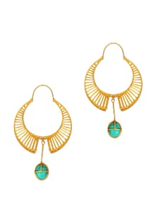 Gold Earrings With Blue Stone - Earrings & More....