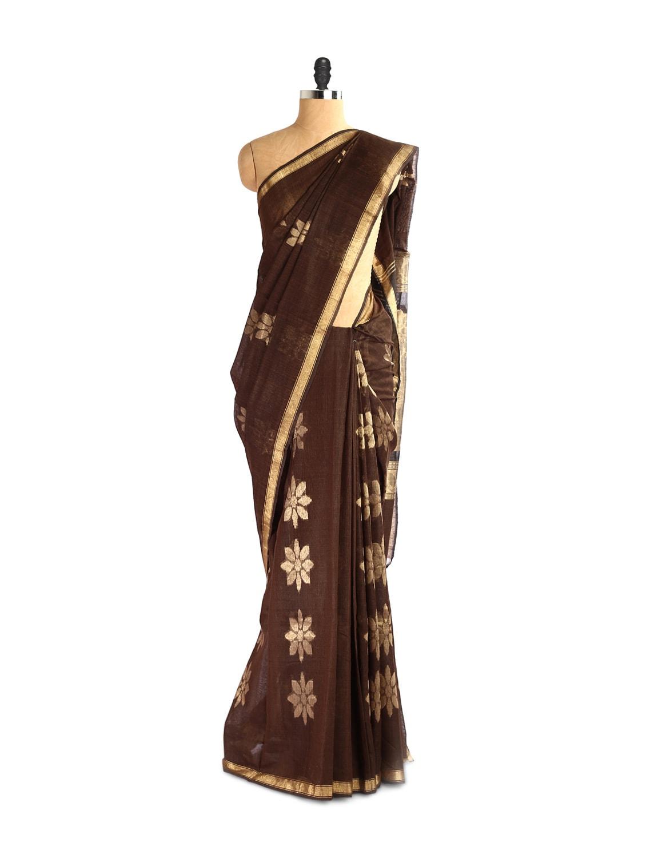 Exquisite Kosa Silk Brown And Gold Saree - Kosabadi
