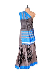 Beautiful Grey And Blue Art Silk Saree - Hypno Tex