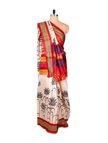 Lotus Print Red And Cream Saree - Hypno Tex