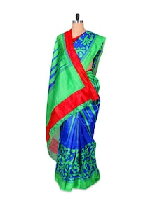 Green And Blue Art Silk Saree - Hypno Tex