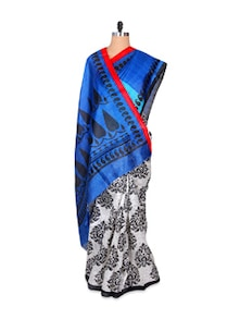Printed Black And White Art Silk Saree - Hypno Tex