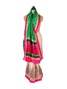 Gorgeous Cream And Green Art Silk Saree - Hypno Tex