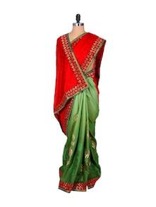 Gorgeous Green And Red Viscose Saree - Hypno Tex