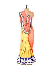 Orange And Yellow Chanderi Silk Saree - Hypno Tex