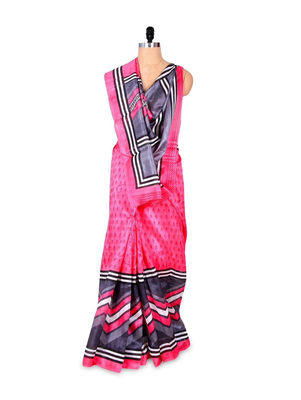 Beautiful Pink And Grey Art Silk Saree - Hypno Tex