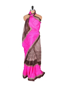 Pink And Grey Art Silk Saree - Hypno Tex