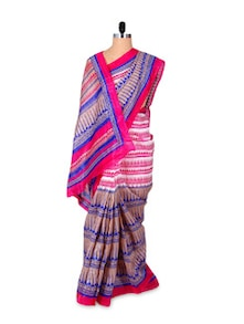 Pink And Blue Printed Saree - Hypno Tex