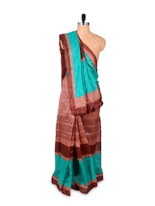 Brown And Green Art Silk Saree - Hypno Tex