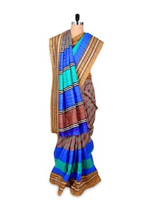 Brown And Blue Art Silk Saree - Hypno Tex