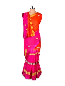 Vibrant Orange And Pink Georgette Saree - Hypno Tex