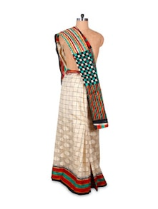 Quirky Off-White Art Silk Saree - Hypno Tex