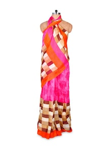Checkered-floral Art Silk Saree - Hypno Tex