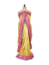 Scintillating leaf design bridal saree