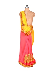 Stellar Georgette Yellow And Peach Saree - Hypno Tex