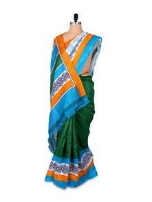 Green And Blue Printed Art Silk Saree - Hypno Tex